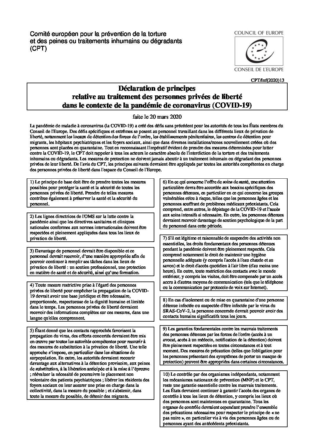 INFO | Comité européen pour la prévention de la torture appelle à réévaluer la nécessité de poursuivre le placement non volontaire des patients psychiatriques