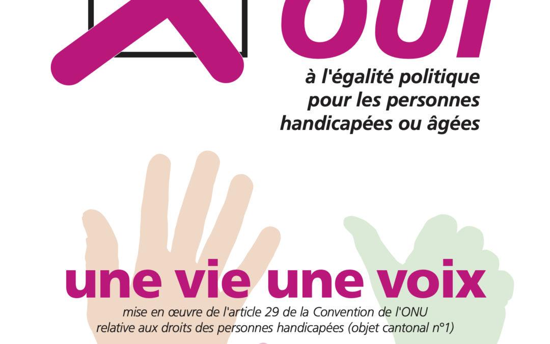Votations genevoises du 29 novembre 2020 : OUI à l'égalité politique pour les personnes handicapées ou âgées